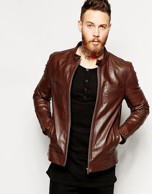 Asos Brown Leather Jacket