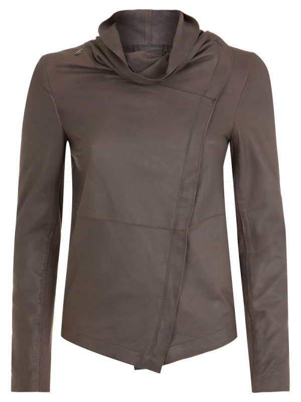 Drape Necks Leather Jacket