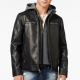 Guess Hooded Leather Jacket