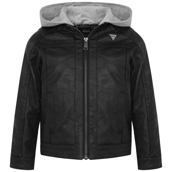 Guess Leather Jacket With Hoodie