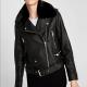 Zara Leather Jacket With Fur Collar