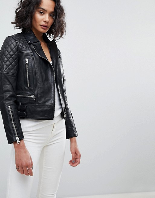 All Saints Quilted Leather Jacket