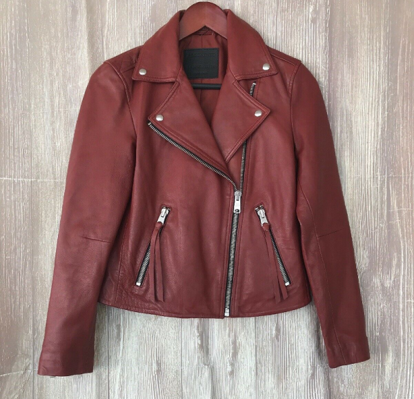 All Saints Red Leather Jacket
