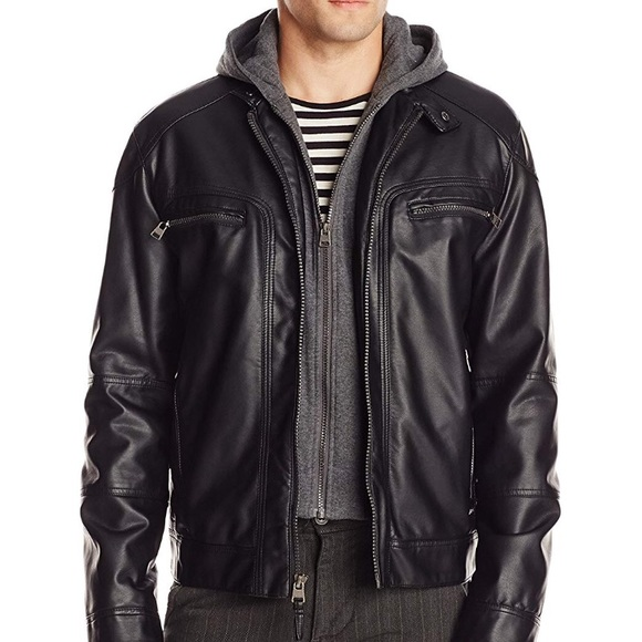 Calvin Klein Hooded Leather Jacket