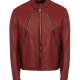 Diagonal Zip Leather Jacket