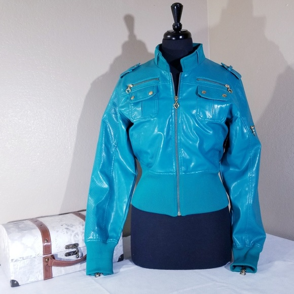 Raw Blue Leather Jacket