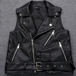Sleeveless Biker Leather Jacket