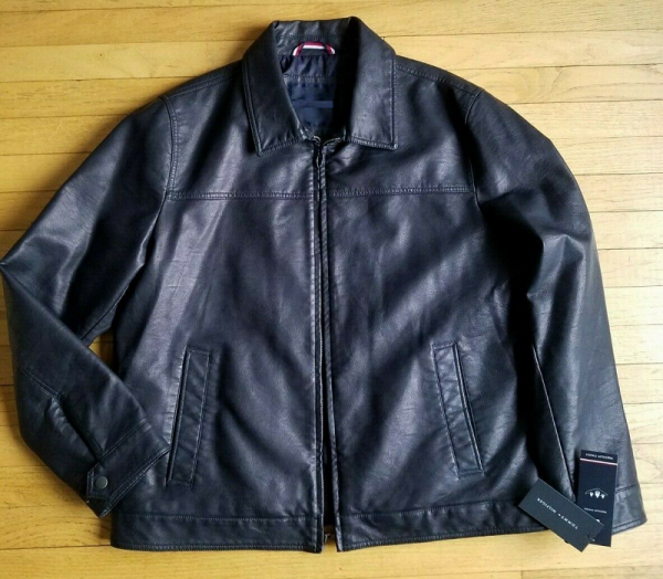 Tommy Hilfiger Blue Leather Jacket