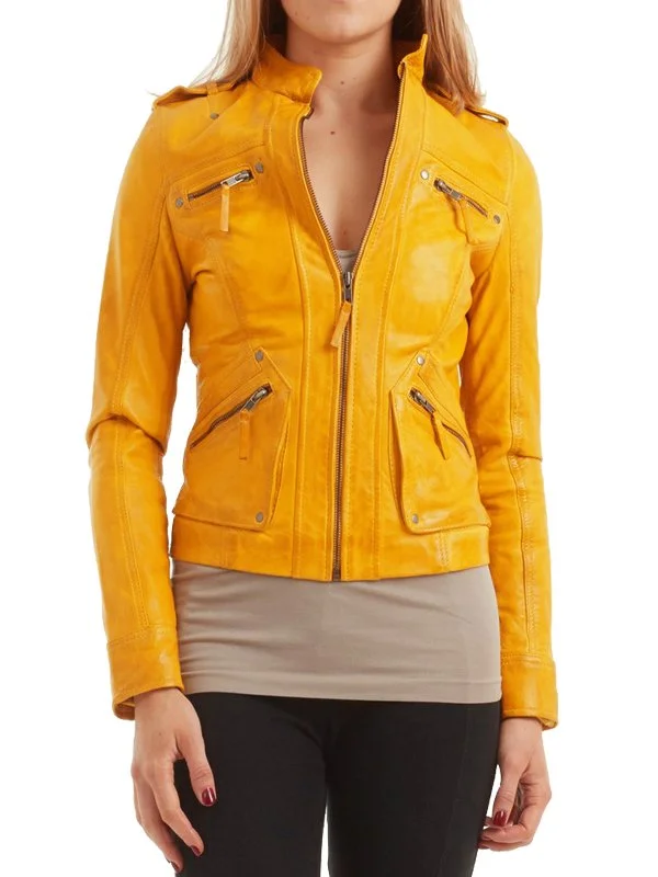 Nancy Pelosi Yellow Leather Jacket