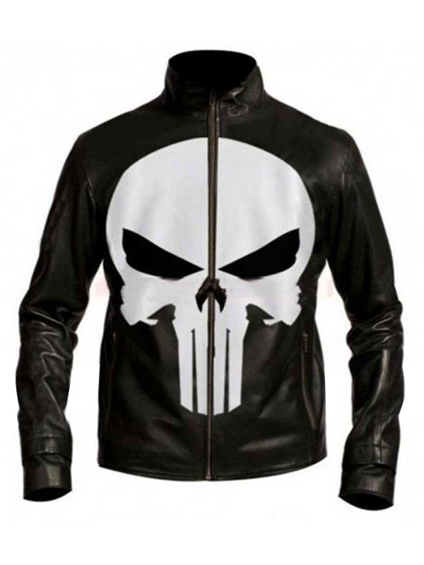 Punisher Leather Black Jacket