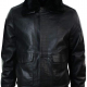 Blacks Leather Jacket With Fur Collar