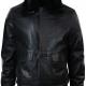 Blacks Leather Jacket With Fur Collar