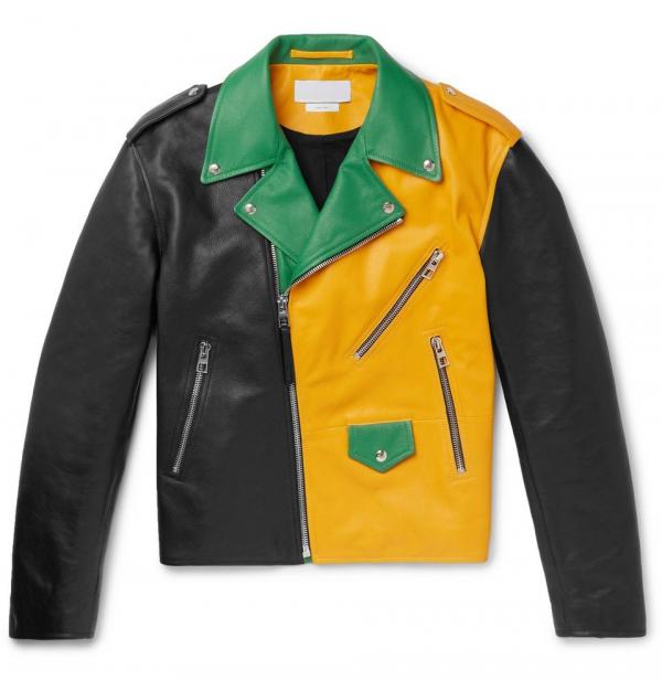 Color Block Leather Jacket