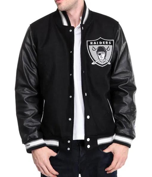 Oakland Raider Black Leather Jacket
