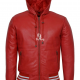 Red Hooded Leather Jacket