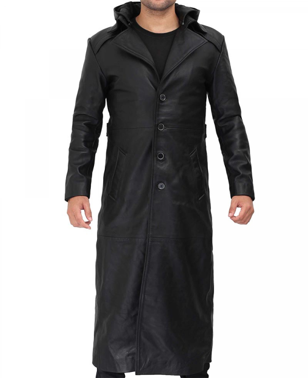 Gravel Black Hooded Leather Trench Coat