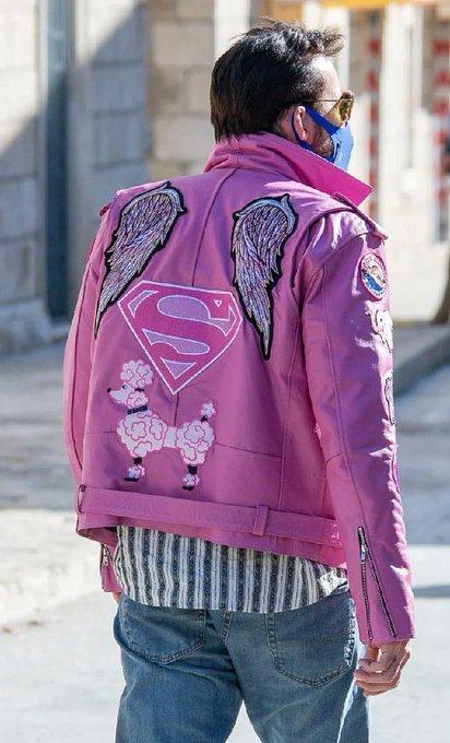 Nicolas Cage Pink Angel Wings Superman logo Jacket