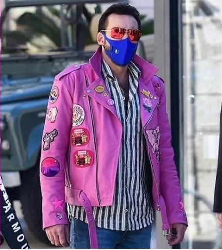 Nicolas Cage Pink Patch Jacket