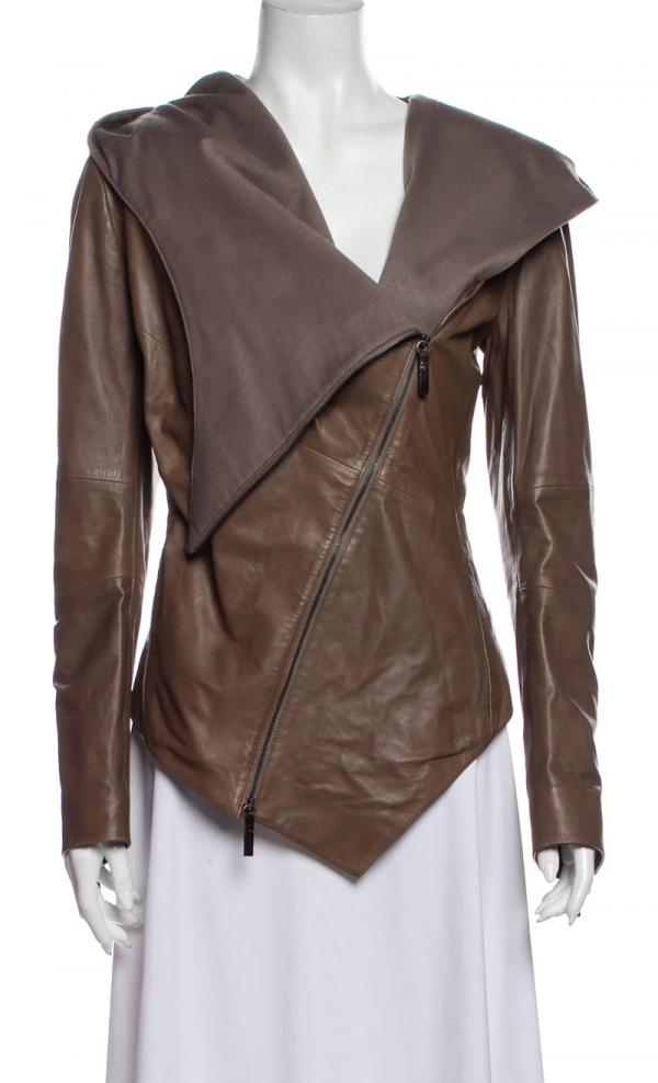 Puntos Draped Collar Leather Jacket