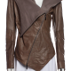 Puntos Draped Collar Leather Jacket