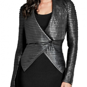 Riverdale Black Leather Pleated Jacket
