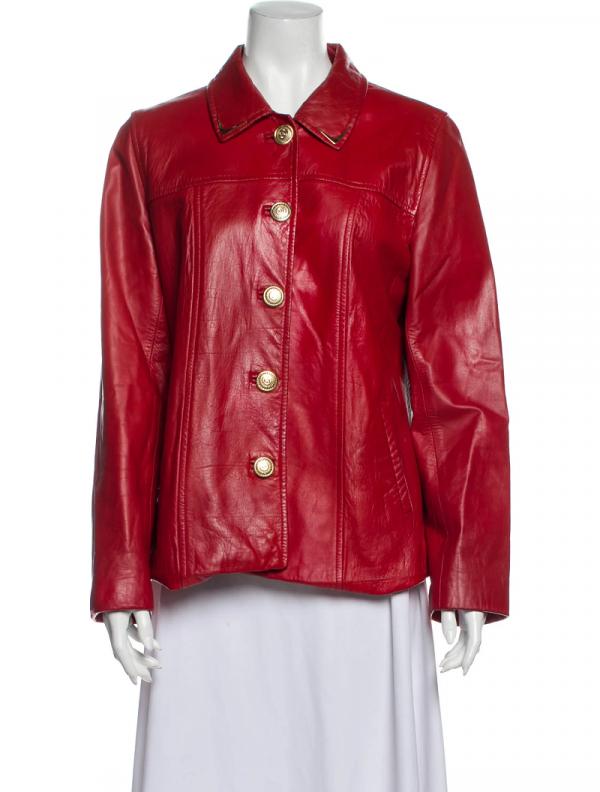 St. John Red Leather Jacket