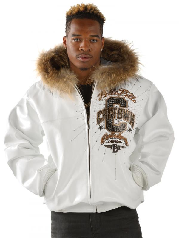 pelle pelle white jacket furs collar