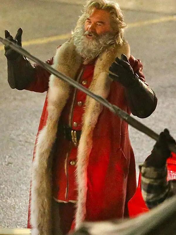 Christmas Chronicles Kurt Russell Shearling Trench Coat