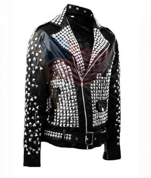 Studded Punk Biker Leather Jacket