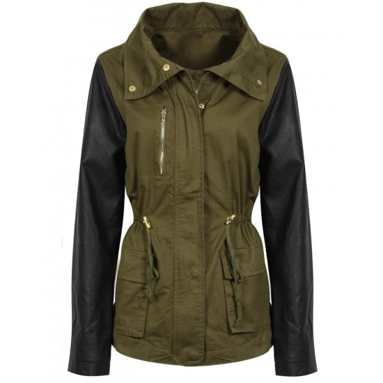 Women's Army Green Jacket With Leather Sleeves