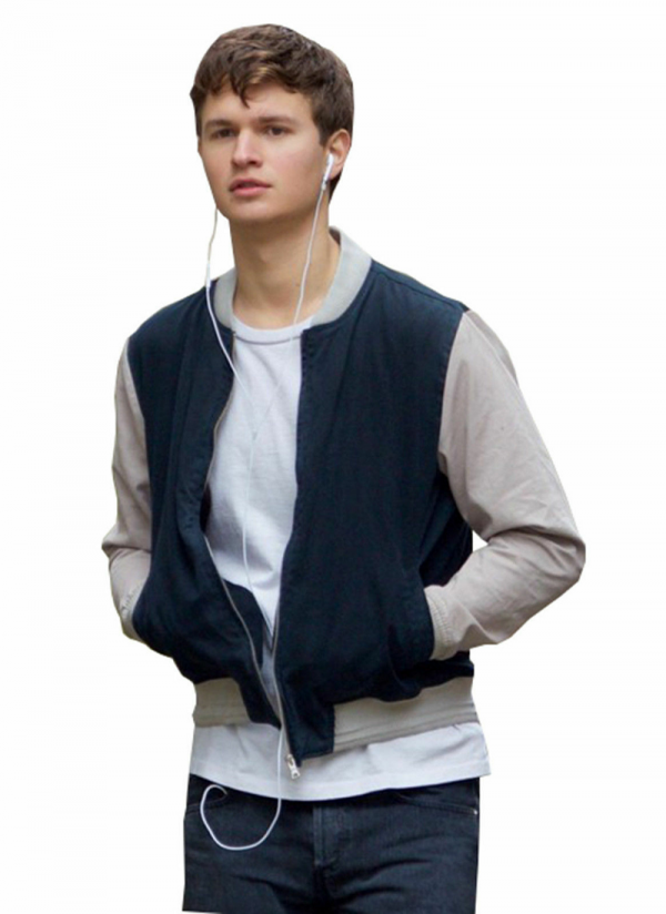 Ansel Elgort Baby Driver Grey And Blue Varsity Jacket