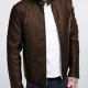 Casual Brown Leather Jacket For Men