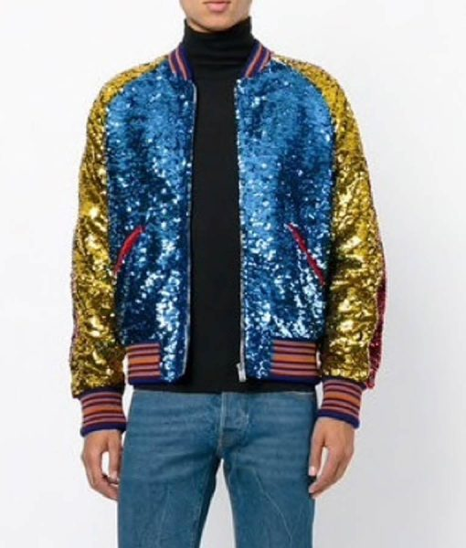 Jimin DNA Style Sequin Bomber Jacket
