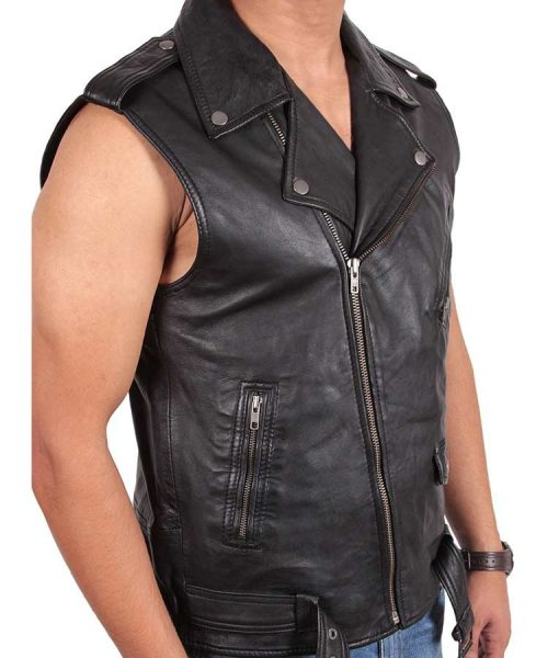 Mens Blacks Classic Motorcycle Leather Vest