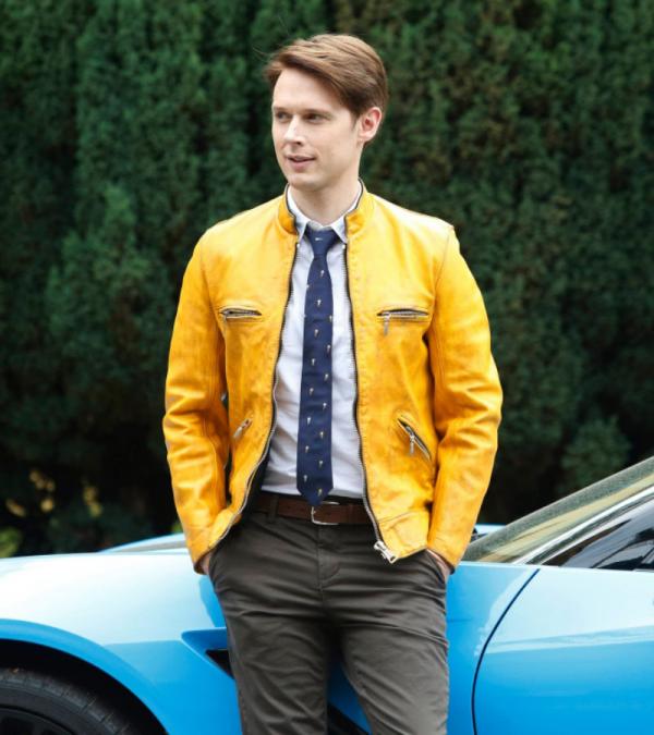 Samuel Barnett Yellow Leather Jacket