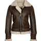 Womens Distressed Brown Aviator Leather Jacket