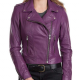 Womens Purple Leather Classic Motorcycle Jacket