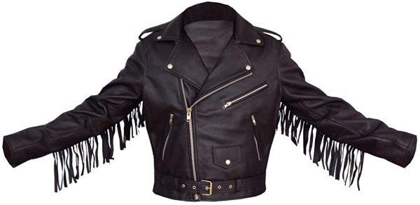 Black Fringe Tasseled Leather Jacket