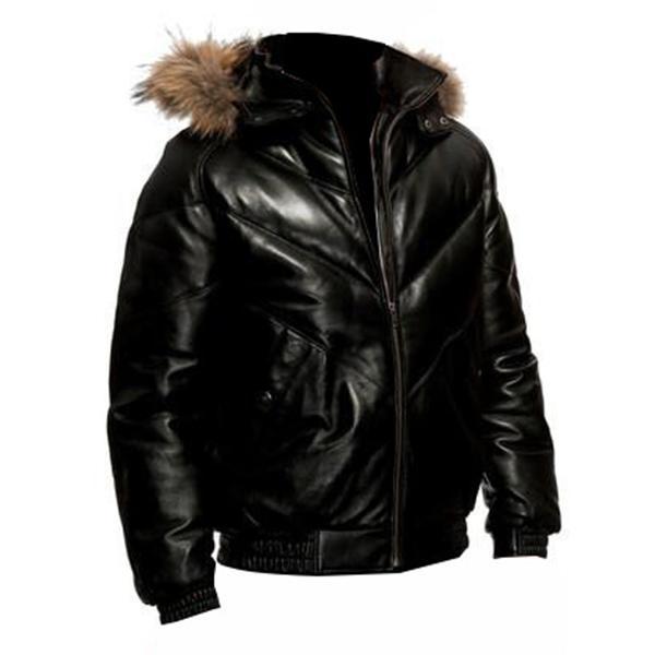 Fur Hood Leather Jacket