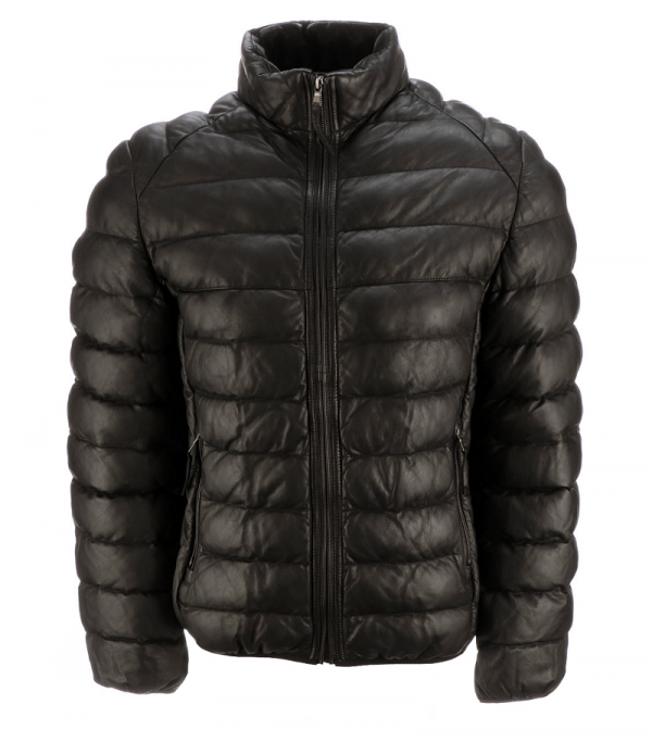 Leather Puffer Black Jacket