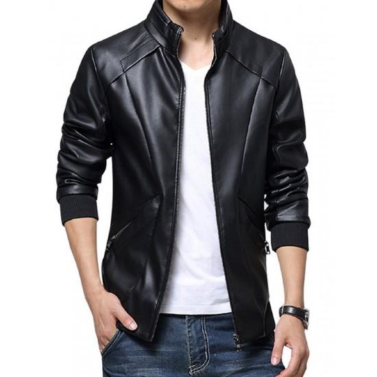 Man Black Leather Jacket