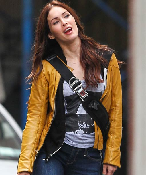 Megan Fox Yellow Leather Jacket
