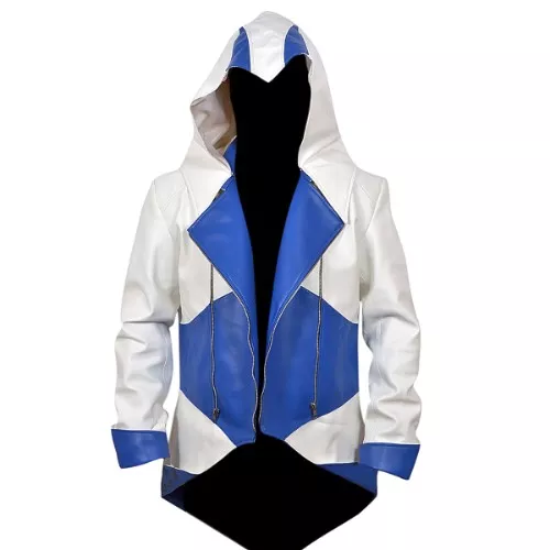 Assassins Creed 3 White And Blue Leather Jacket