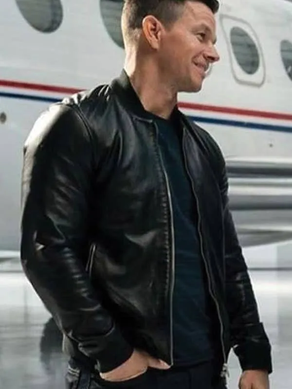 Infinite Mark Wahlberg Bomber Leather Jacket