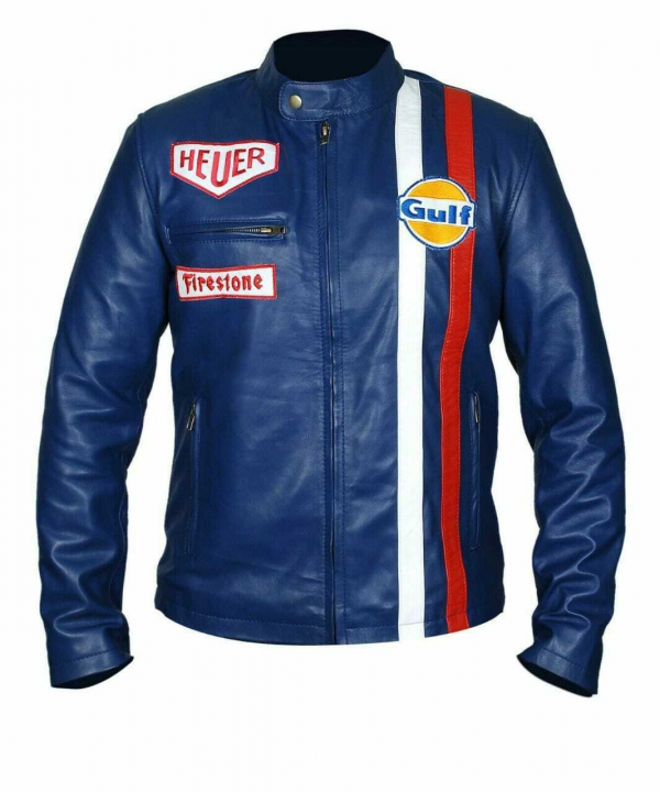 Steve McQueen Gulf Le Mans Grandprix Cotton Navy Blue Racing Jacket