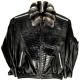 Alex Alligator Trimming Black Leather Jacket