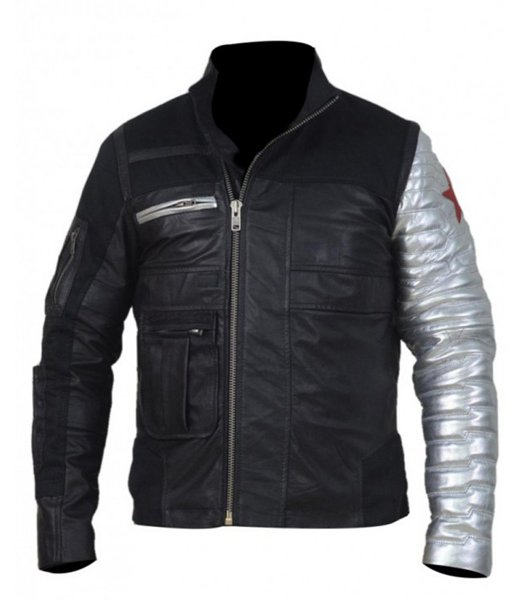 Captain America Winter Soldier Silver Sleeves Jacket