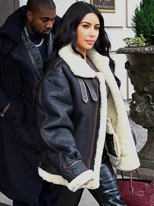 Kim Kardashians Bomber Leather Jacket