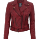 Maroon Leather Moto Jacket