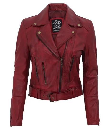 Maroon Leather Moto Jacket